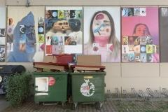 Werke von Studierenden der Univ. f. Angewandte Kunst ( die grünen Behältnisse  im Vordergrund sind aber definitiv keine Kunst )