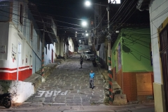 near the Hostal Isla Señorial at night