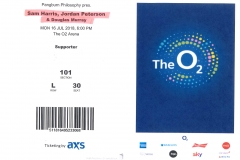 Ticket for the O2 Arena with Sam Harris, Jordan Peterson and Douglas Murray