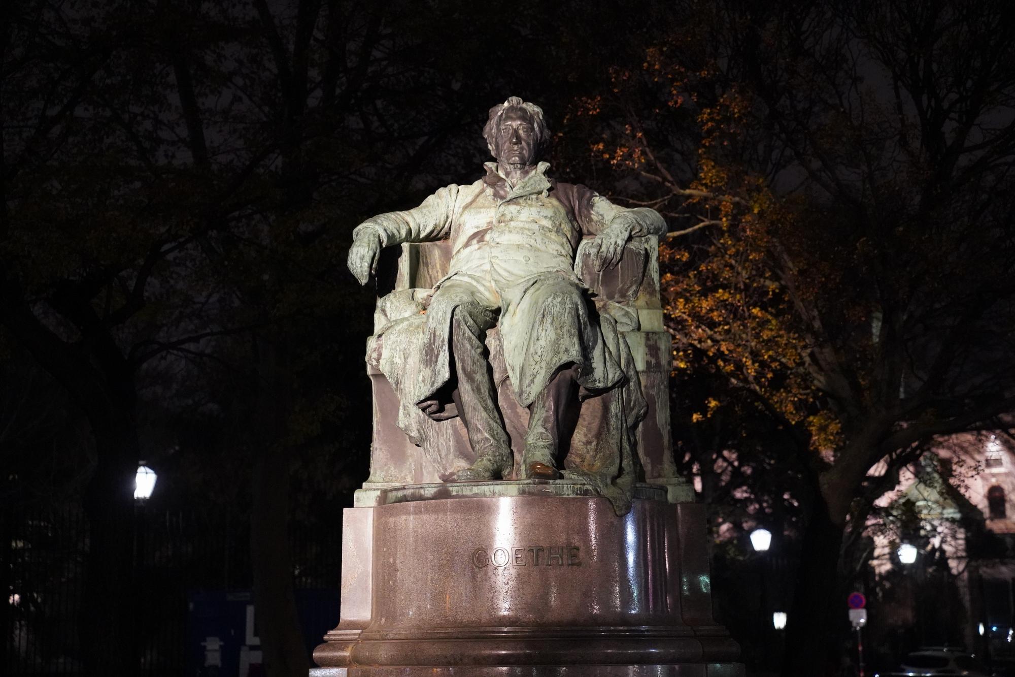 Statue of famous white Supremacist Goethe, still untoppled