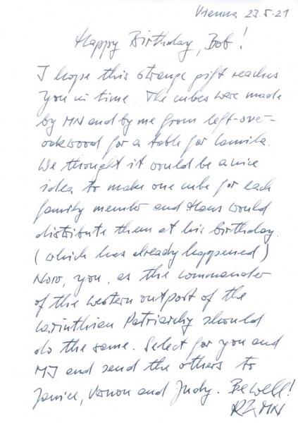 Birthday letter  Bob 90