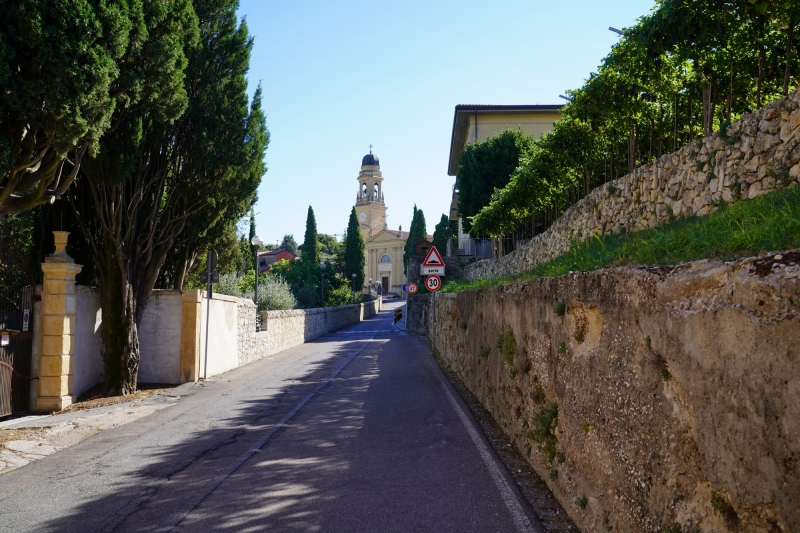 """on the way down to """"Villa Giona"""" , looking back to Casterotto church at the hill-top"""