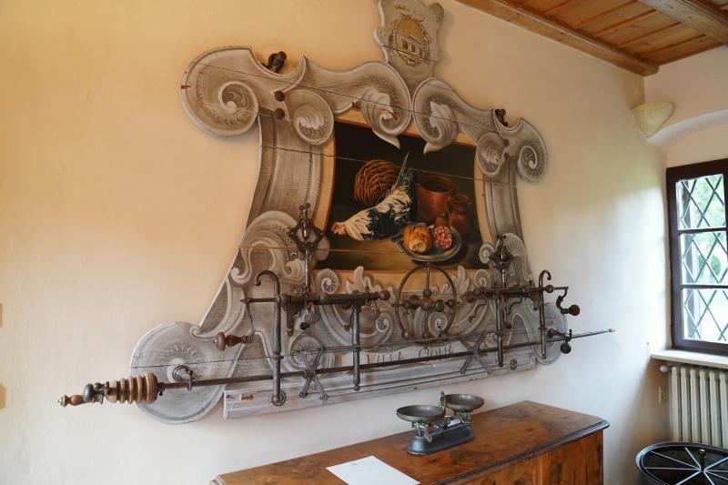 back at Villa Giona , historic chicken-roast device at Villa Giona