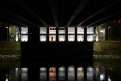 at night under the bridge