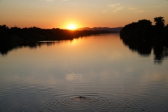 Sunset over New Danube with Mermaid