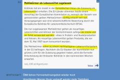 2021-05-04  Mehlwürmer endlich zugelassen in der EU, über die Kennzeichnungspflicht wird noch verhandelt