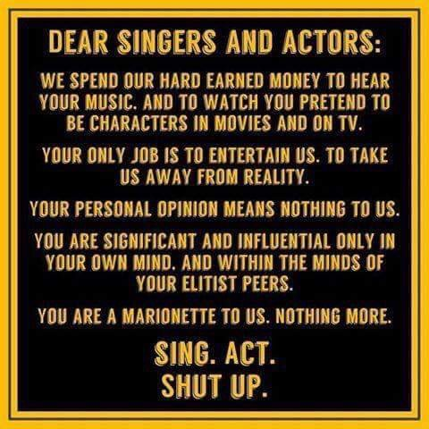 Dear singers and actors