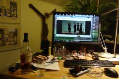Engineers desktop at night